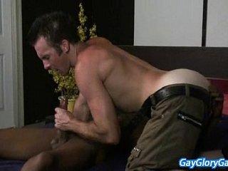 Gay Dude Rubbing Hard Dick And Gives Wet Blowjob 18