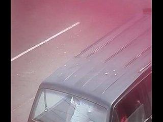 Jercking off in the car hidden camera