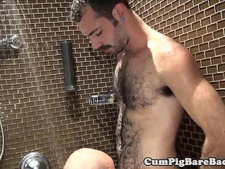 Mature bear barebacks cub in steamy shower