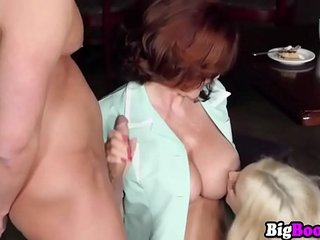Jane Wilde and bf got surprised by horny MILf Andy James