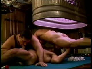 Muscular horny dudes want to get a bit wild and fuck on the pool table