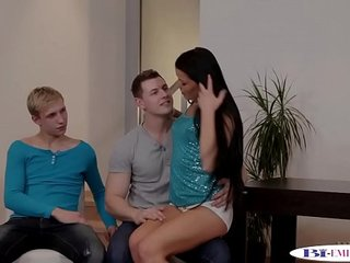 Stud drills tight pussy after sucking cock