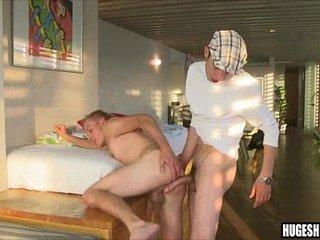 Skinny POV threesome with big cock blowjob