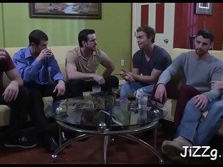 Late night gay orgy on webcam