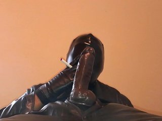 All leather and mask blowjob training.