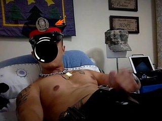Asian police jerk off