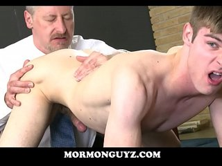 blonde mormon twink ass licked and fucked by older man of the church