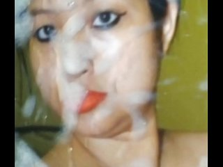 Big boobs thai whore drenched in cum