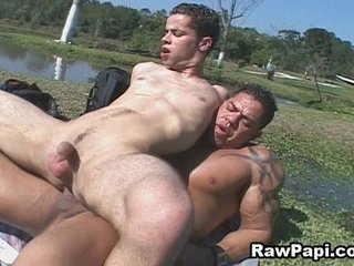 Ass Rimming and Latin Bareback Beside a Pool